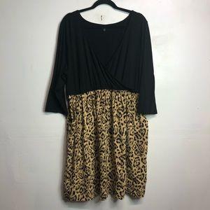 Torrid 3x leopard print faux wrap long sleeve